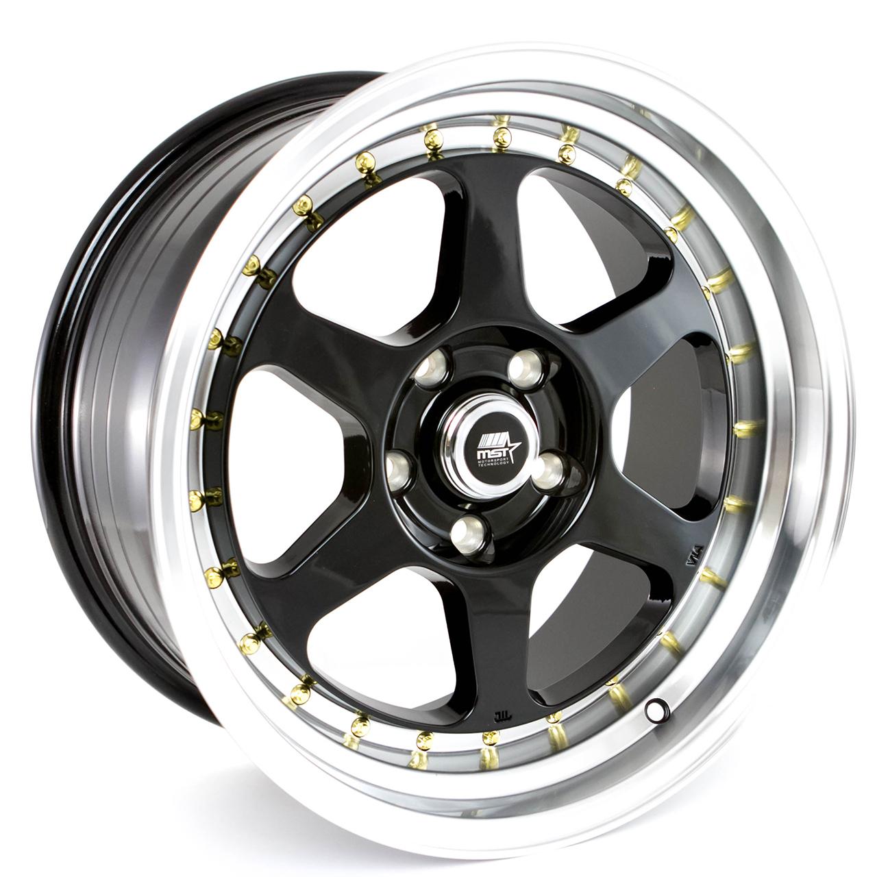 MT35 - Black w/Machined Lip Gold Rivets - 17x85