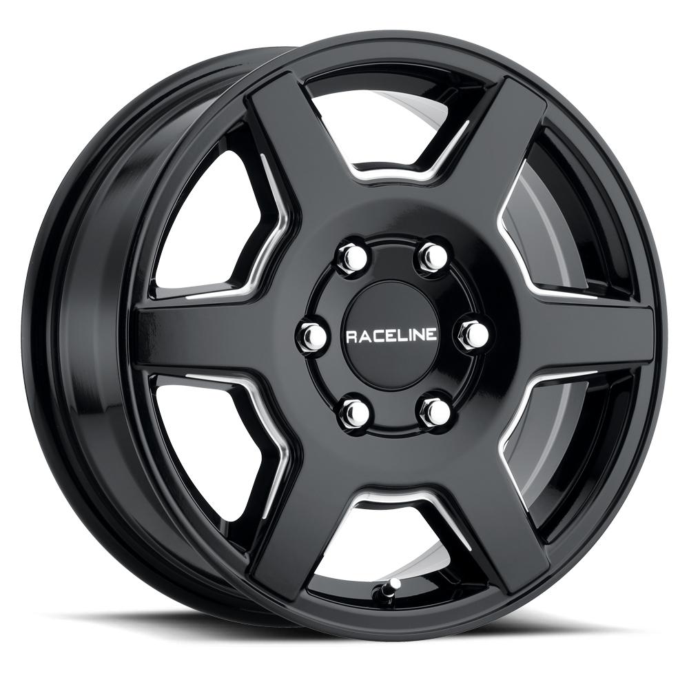 Raceline Wheels 156B Surge - Gloss Black with Milled Spokes Rim