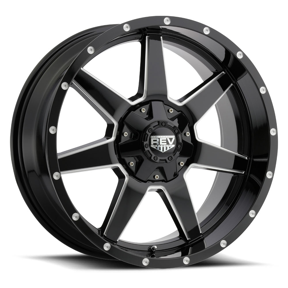 Rev Wheels 875 Offroad - Gloss Black / Milled Rim