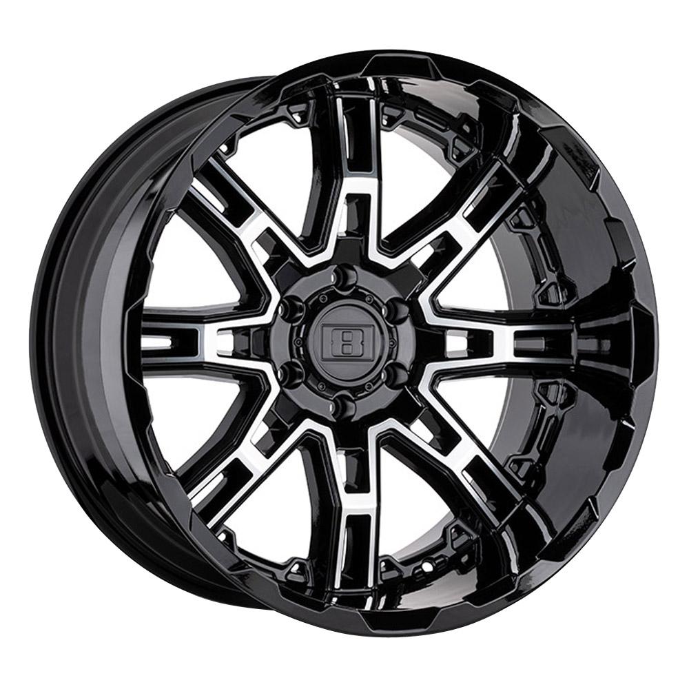 Level 8 Wheels Slingshot - Gloss Black w/ Machined Face Big X Factor Rim