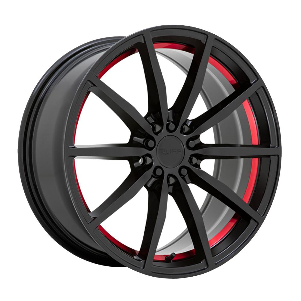 Ruff Wheels Burnout - Gloss Black with Machined Red Inner Lip Rim