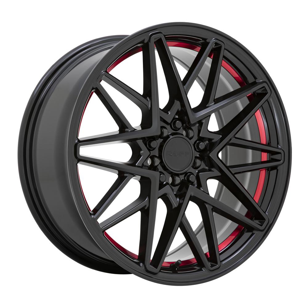 Ruff Wheels Clutch - Gloss Black with Machined Red Inner Lip Rim