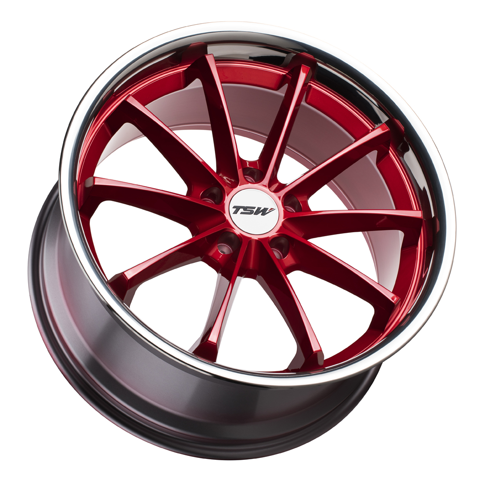 TSW Wheels Sweep - Candy Red with Stainless Lip Rim