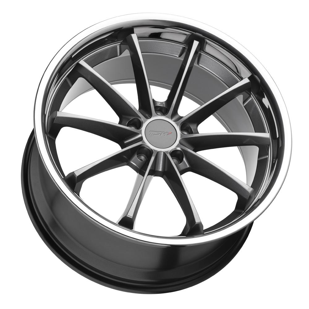 TSW Wheels Sweep - Gloss Gunmetal with Stainless Lip Rim