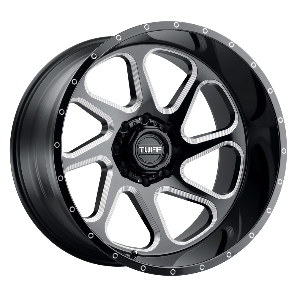 Tuff Wheels T2B - Gloss Black W/Milled Spoke Rim