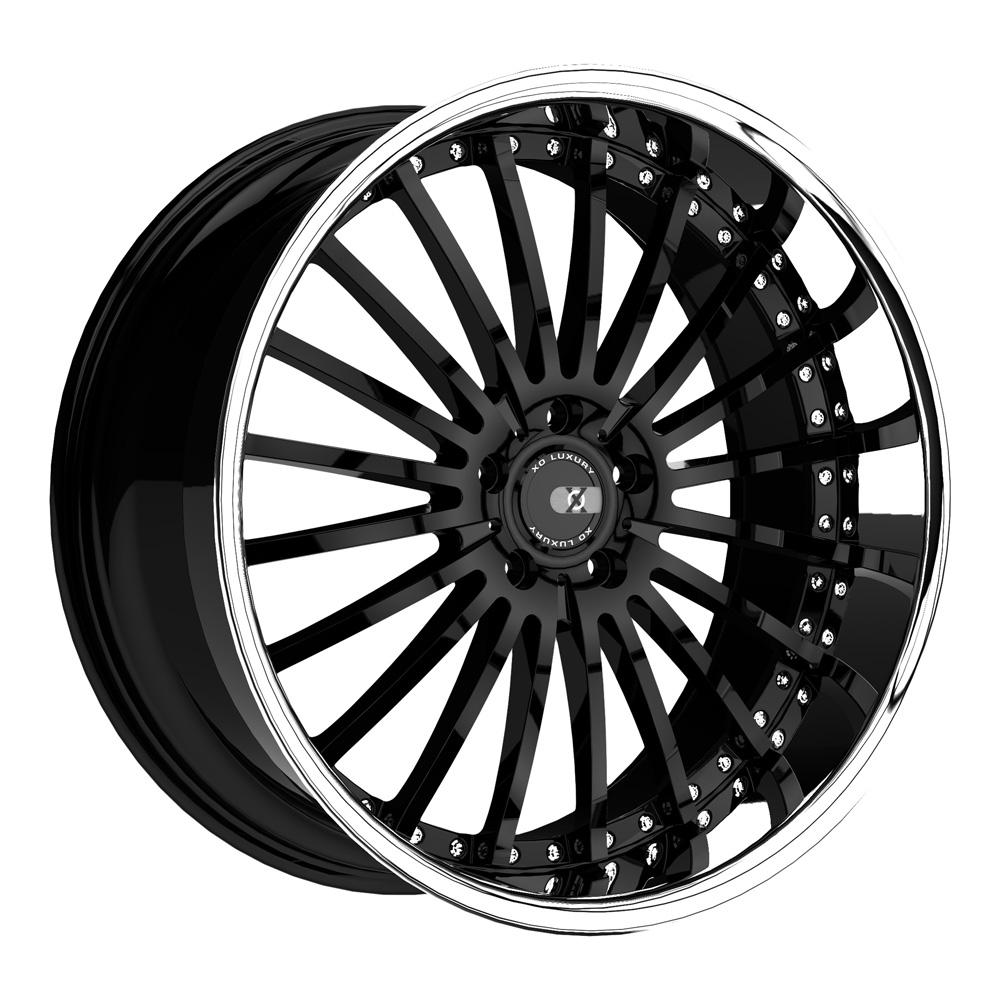 XO Luxury Wheels New York - Gloss Black w/Stainless Steel Lip Rim