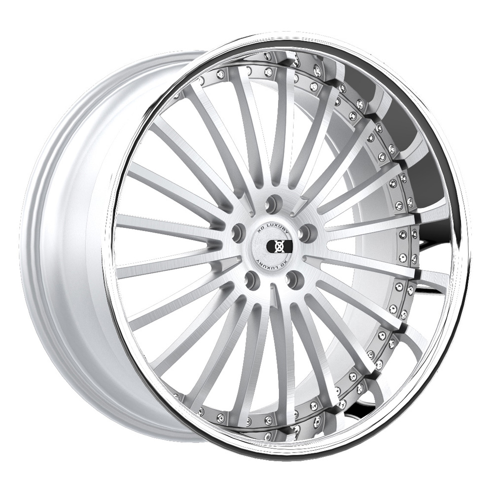 XO Luxury Wheels New York - Silver w/Brushed Face & Stainless Steel Lip Rim