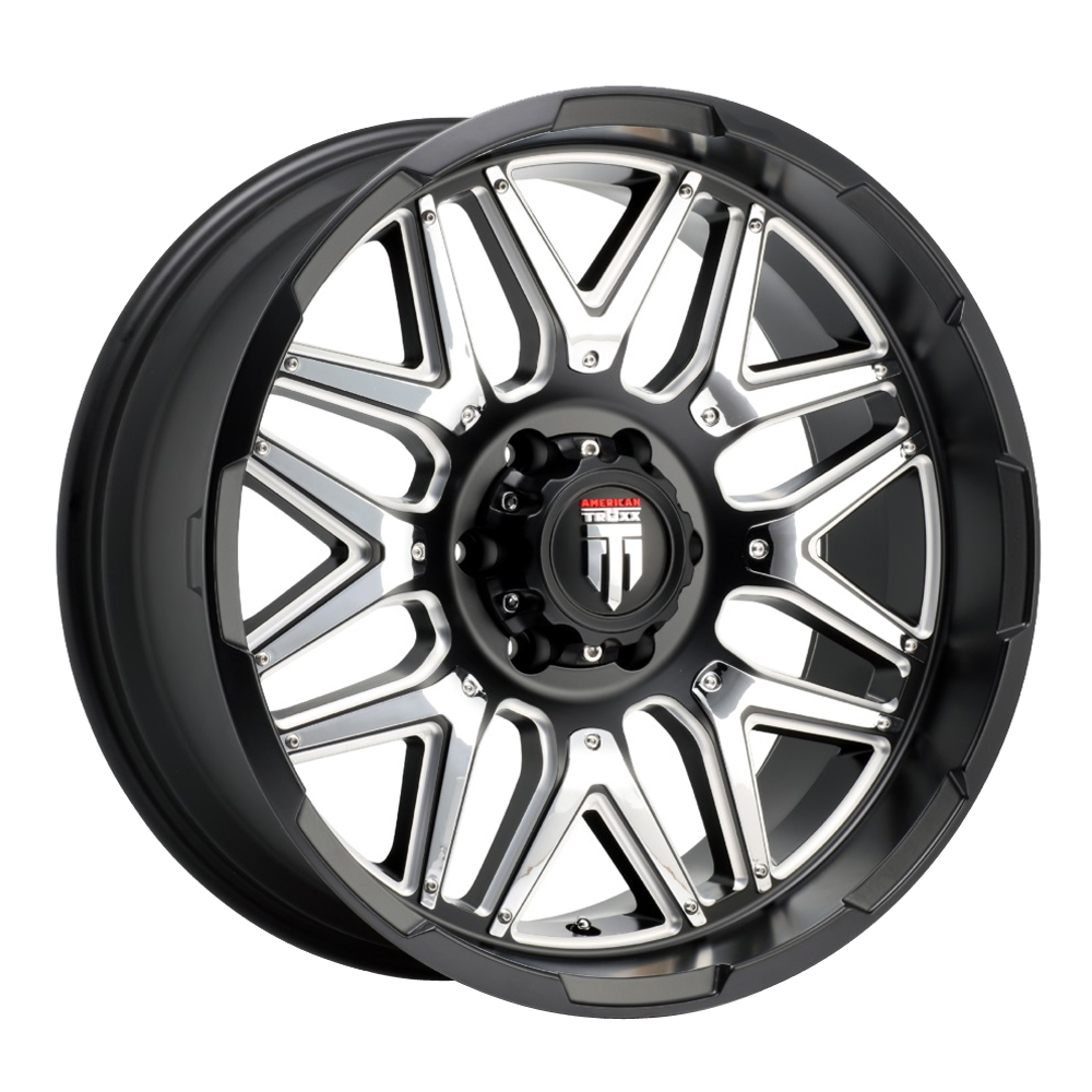 American Truxx Wheels AT151 Grind - Black Milled/Chrome Inserts Rim