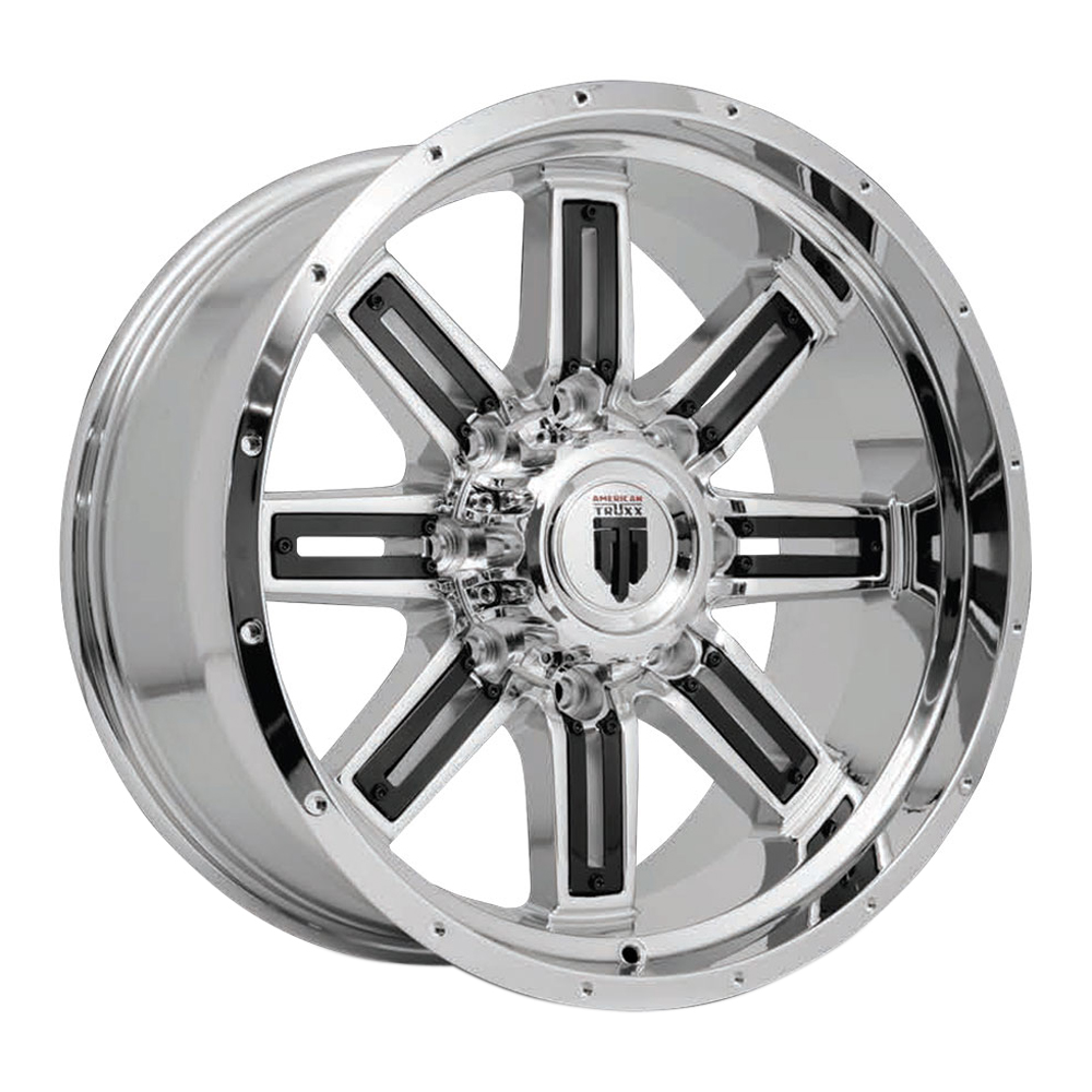 American Truxx Wheels AT153 Steel - Chrome with Black Inserts Rim