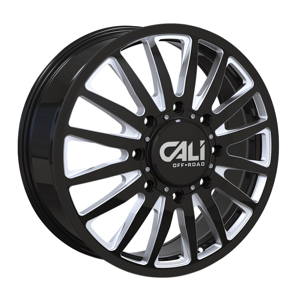 Cali Off-Road Wheels Summit Dually 9110D Front - Gloss Black Milled Spokes Rim