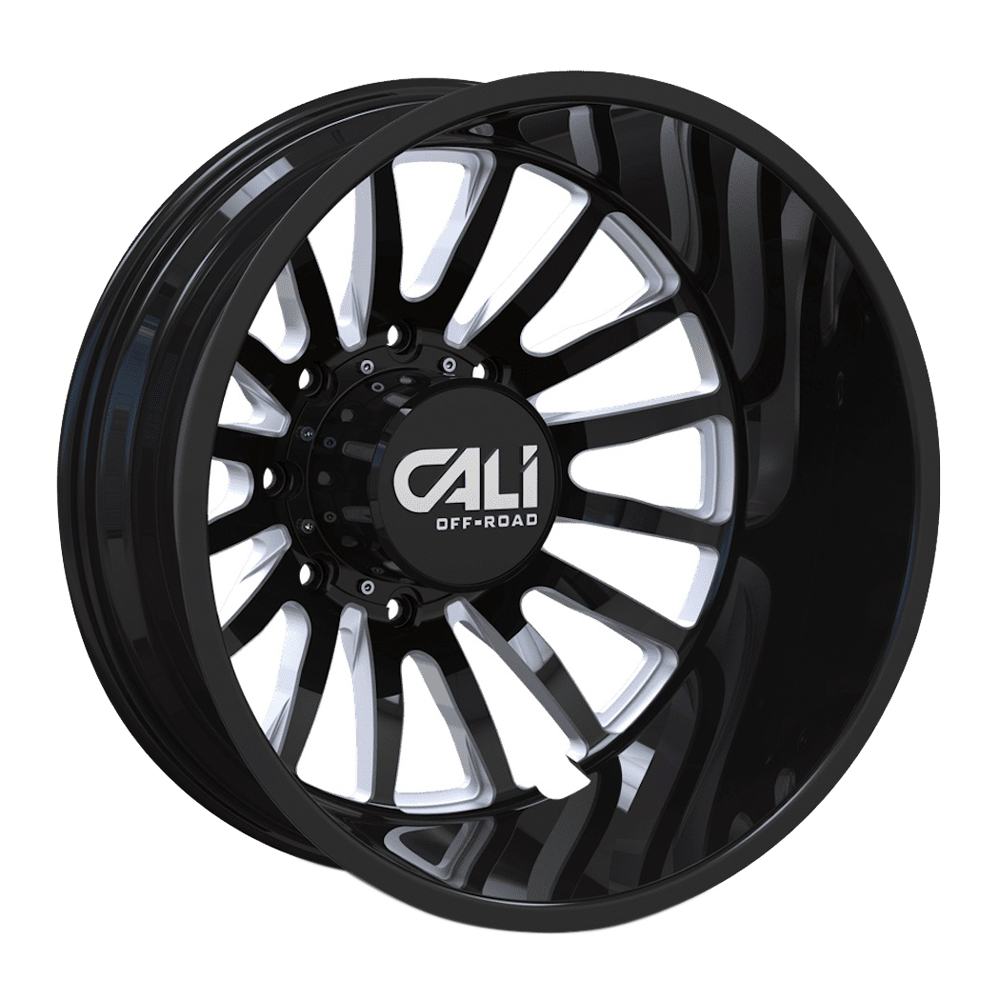 Cali Off-Road Wheels Summit Dually 9110D Rear - Gloss Black Milled Spokes Rim