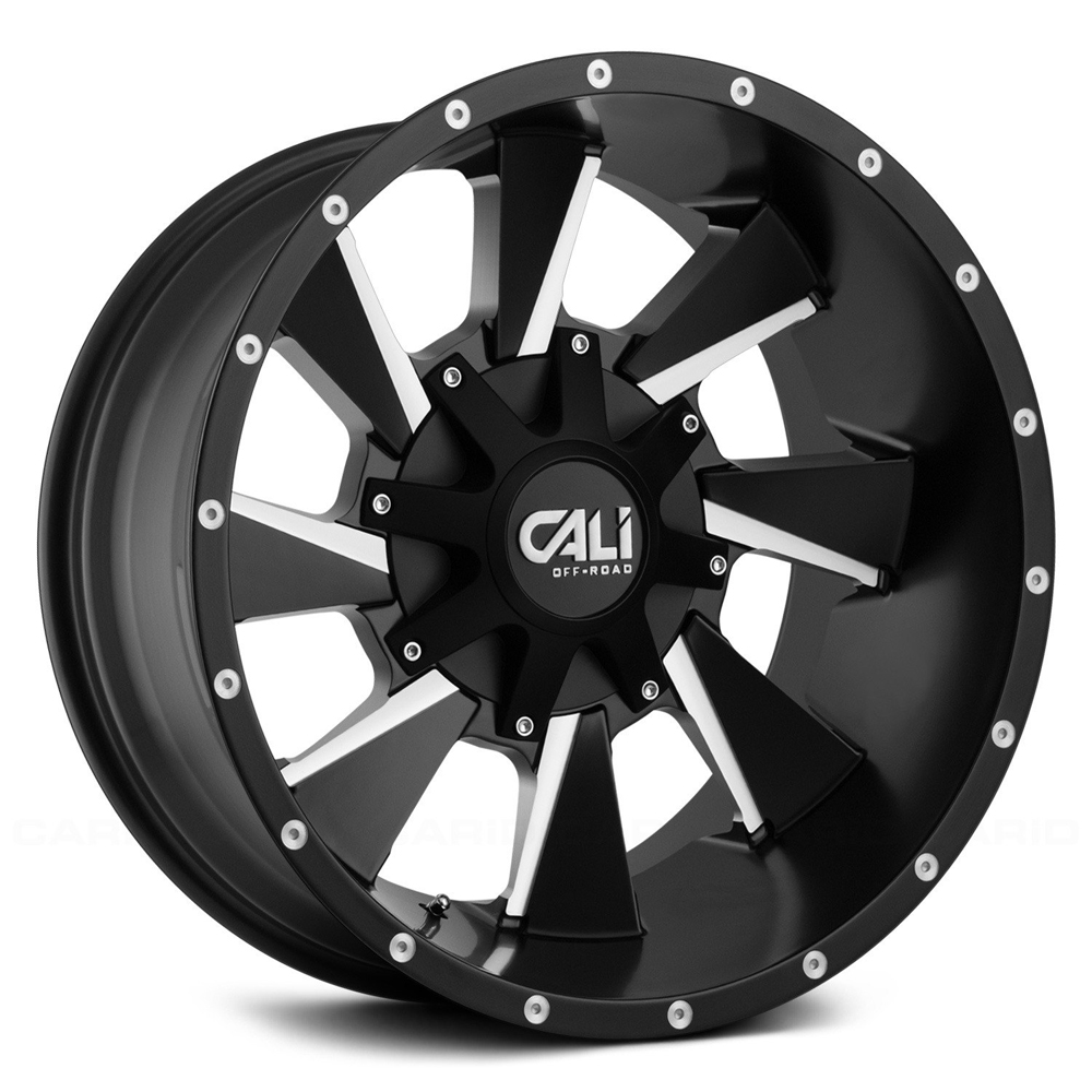 Cali Off-Road Wheels 9106 Distorted - Satin Black/Milled Spokes Rim