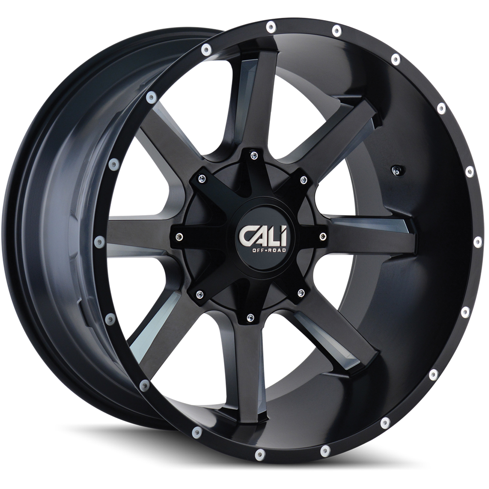 Cali Off-Road Wheels 9100 Busted - Satin Black/Milled Spokes Rim