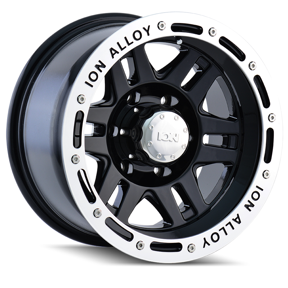 Ion Alloy Wheels 133 - Black w/Machined Lip Rim
