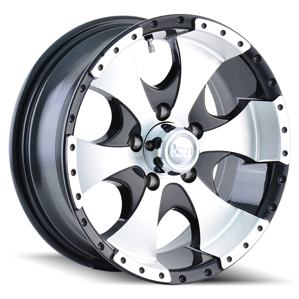 Ion Alloy Wheels 136 - Black/Machined Face/Machined Lip Rim