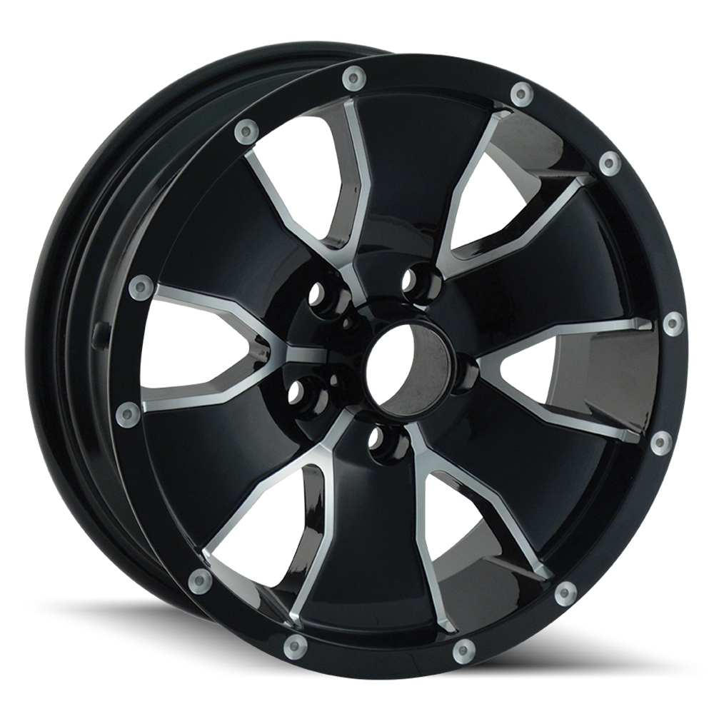 Ion Alloy Wheels 14 - Black W/Machined Face Rim