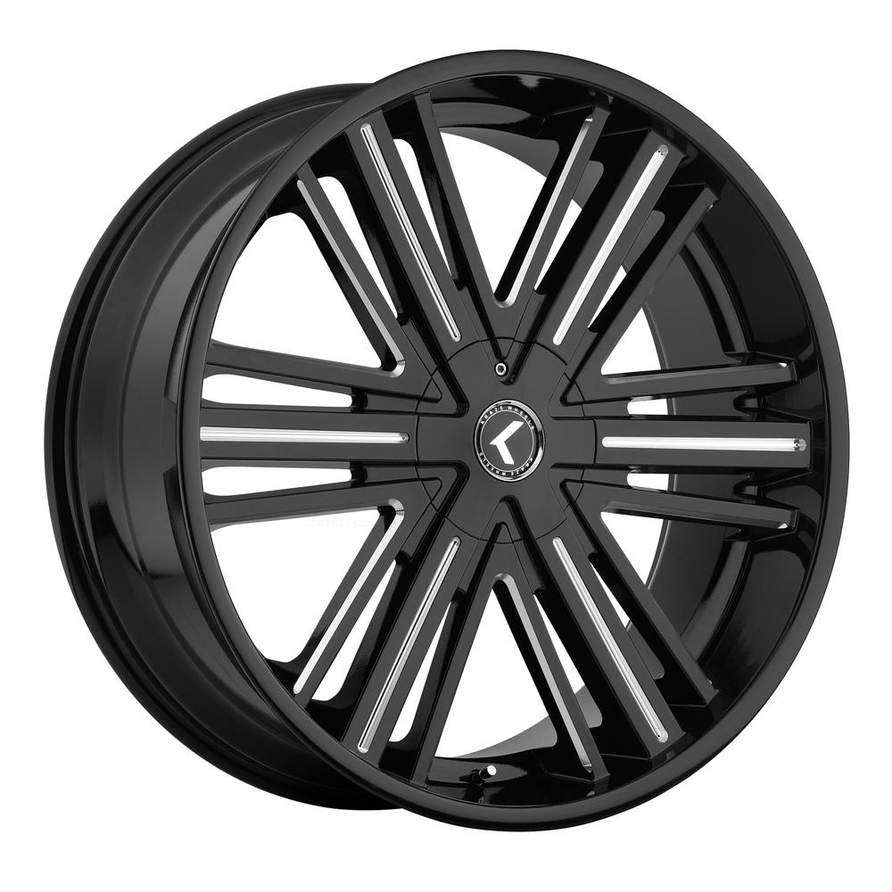 Kraze Wheels KR145 Hookah - Black with Milled Accents Rim