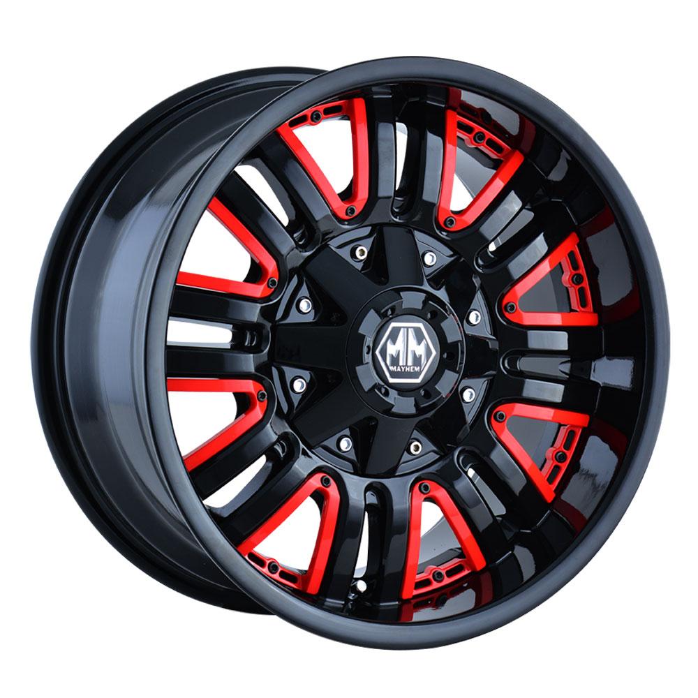 Mayhem Wheels 8070 Assault - Black w/Red Facet Rim