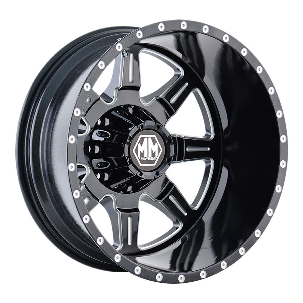 Mayhem Wheels 8101 Monstir Dually - Black w/Milled Spokes Rim