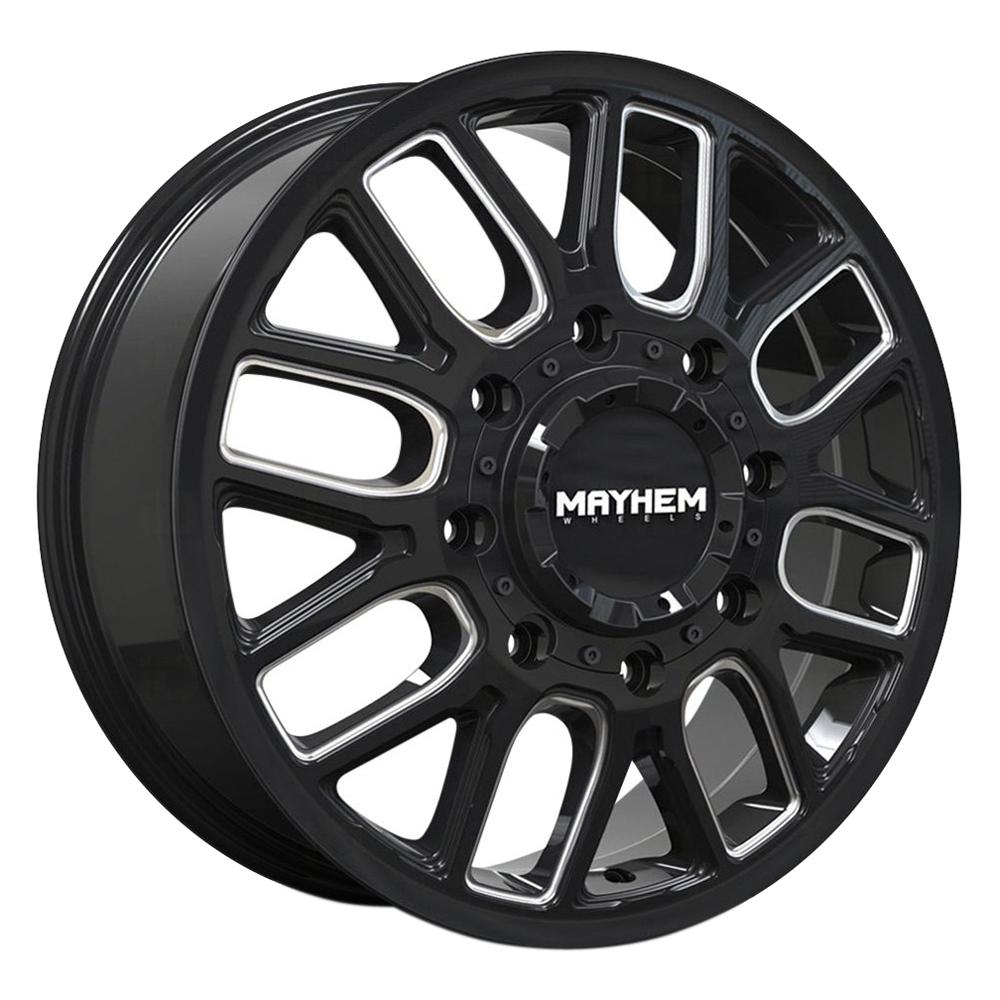 Mayhem Wheels 8107 Cogent Dually Front - Gloss Black w/Milled Spokes Rim