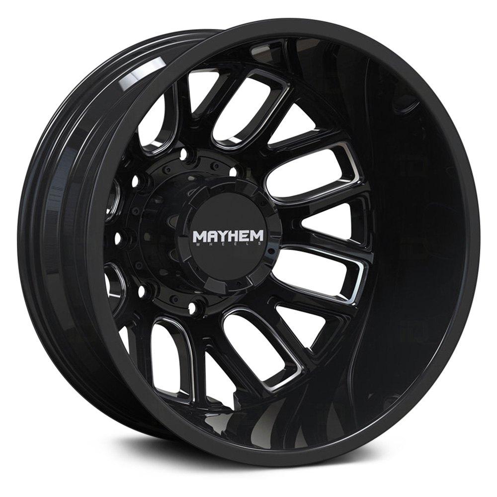 Mayhem Wheels 8107 Cogent Dually Rear - Gloss Black w/Milled Spokes Rim