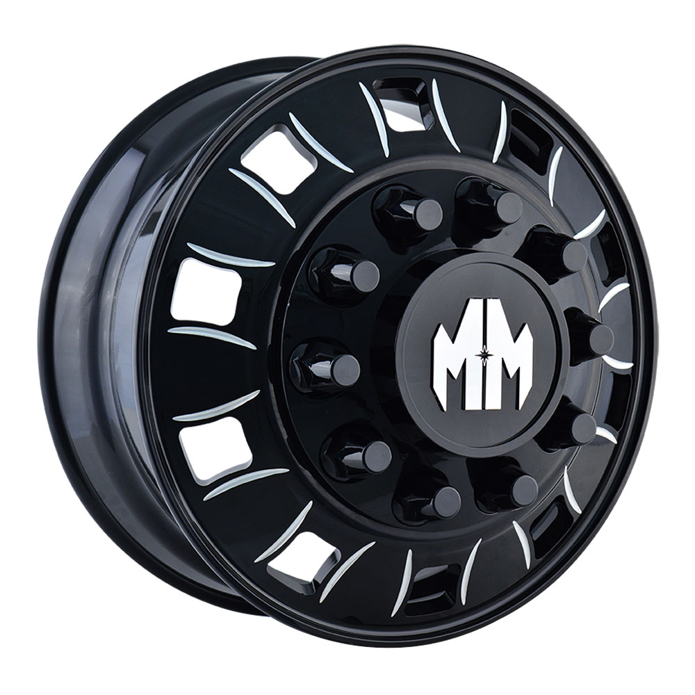 8180 Bigrig - Black w/Milled Spokes - 22.5x8.25