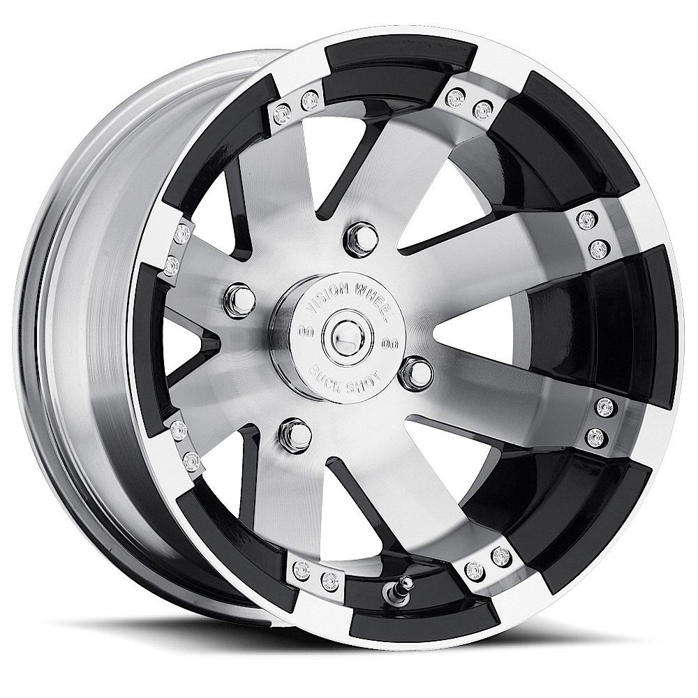 Vision Wheels 158 Buckshot - Gloss Black Machined Face and Lip