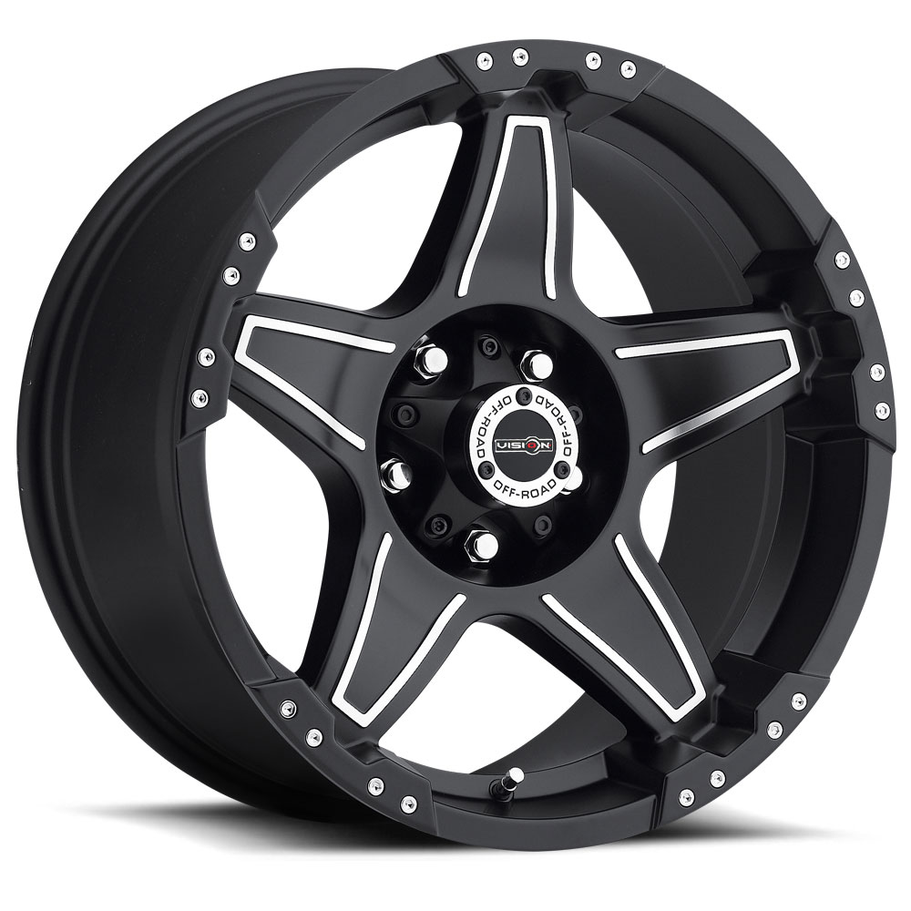 Vision Wheels 395 Wizard - Matte Black Machined Face Rim