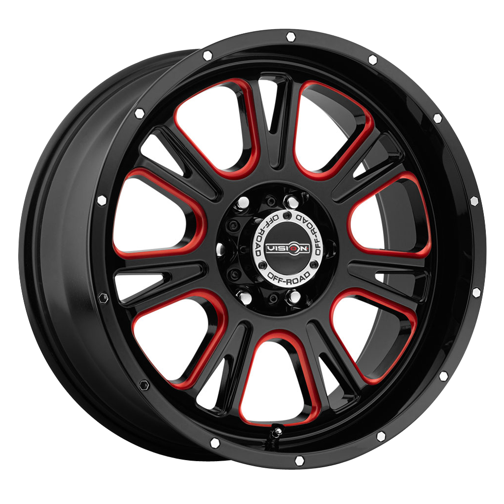 Vision Wheels 399 Fury - Gloss Black Ball Cut Machined with Red Tint Rim