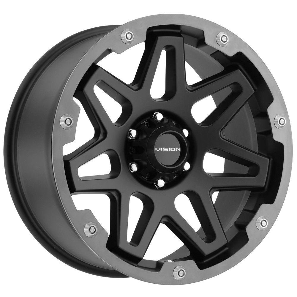Vision Wheels 416 Se7en - Satin Black/Grey Ring Milled Spoke Rim