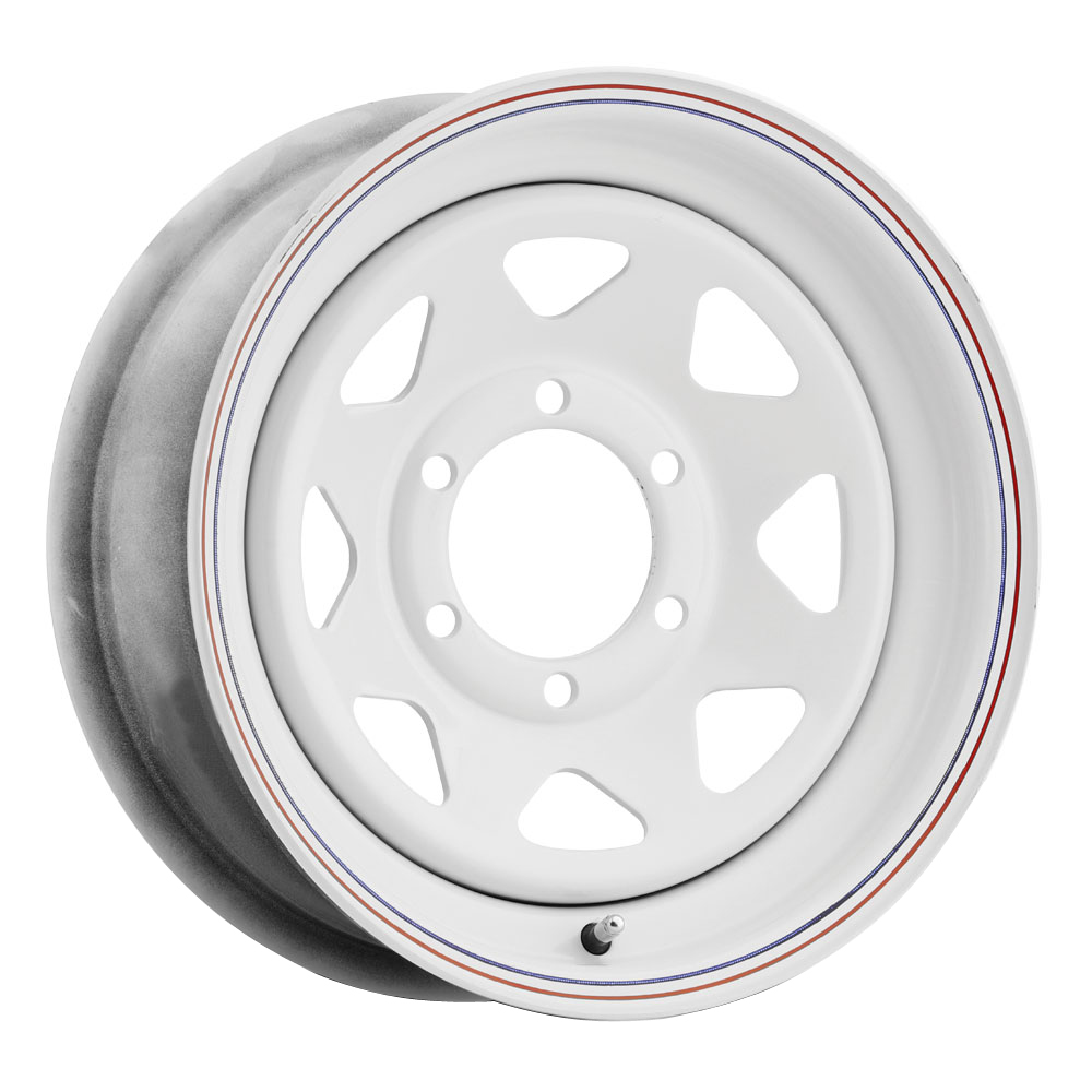 Vision Wheels 70 8 Spoke - White Painted with Red Blue Stripe Rim - 12x4