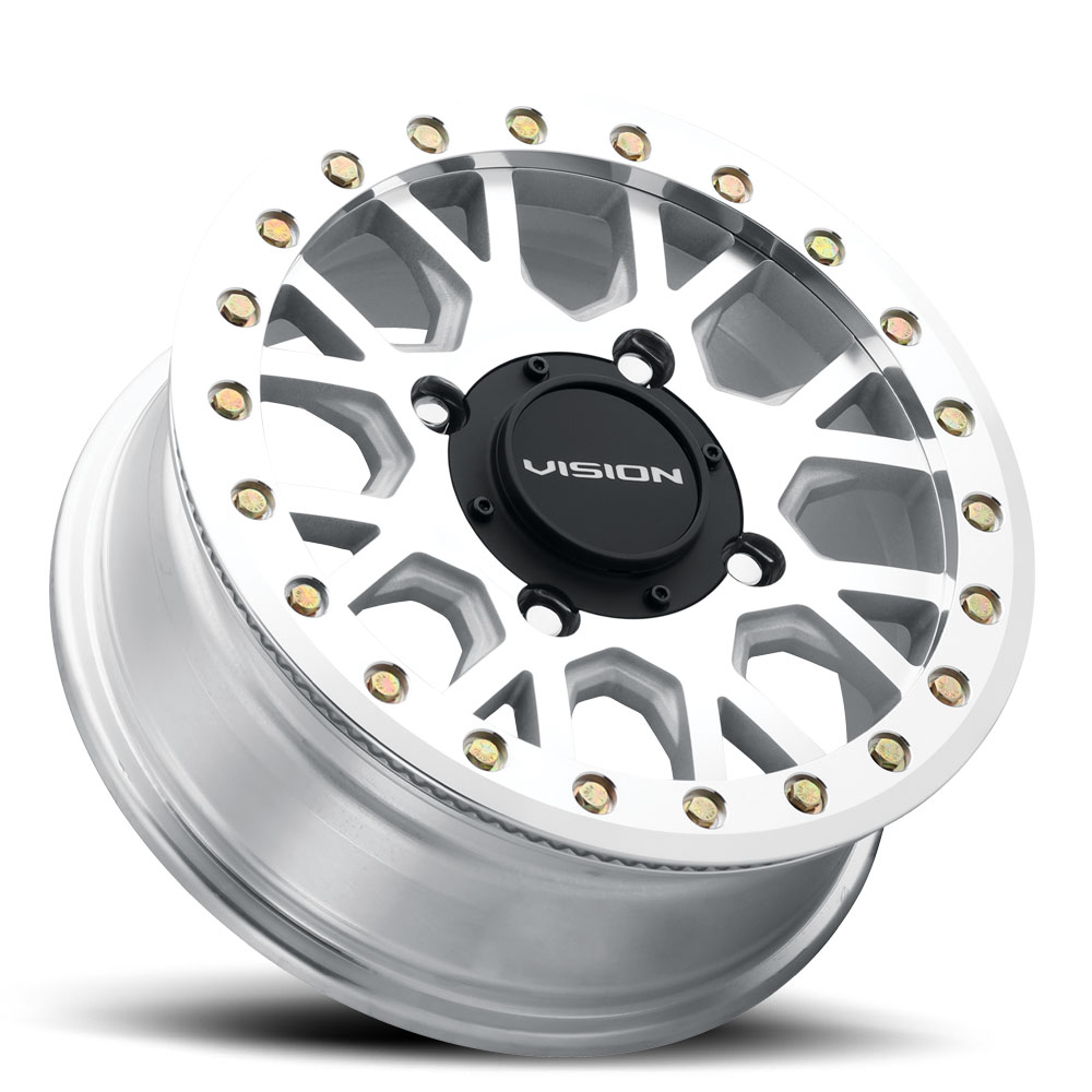 Vision ATV Wheels GV8 Beadlock Invader - As-Cast Machined Face Machined Ring/Lip Rim