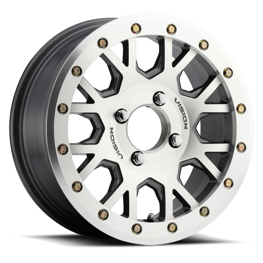 Vision ATV Wheels GV8 Beadlock Invader - Gunmetal Machined Face Rim