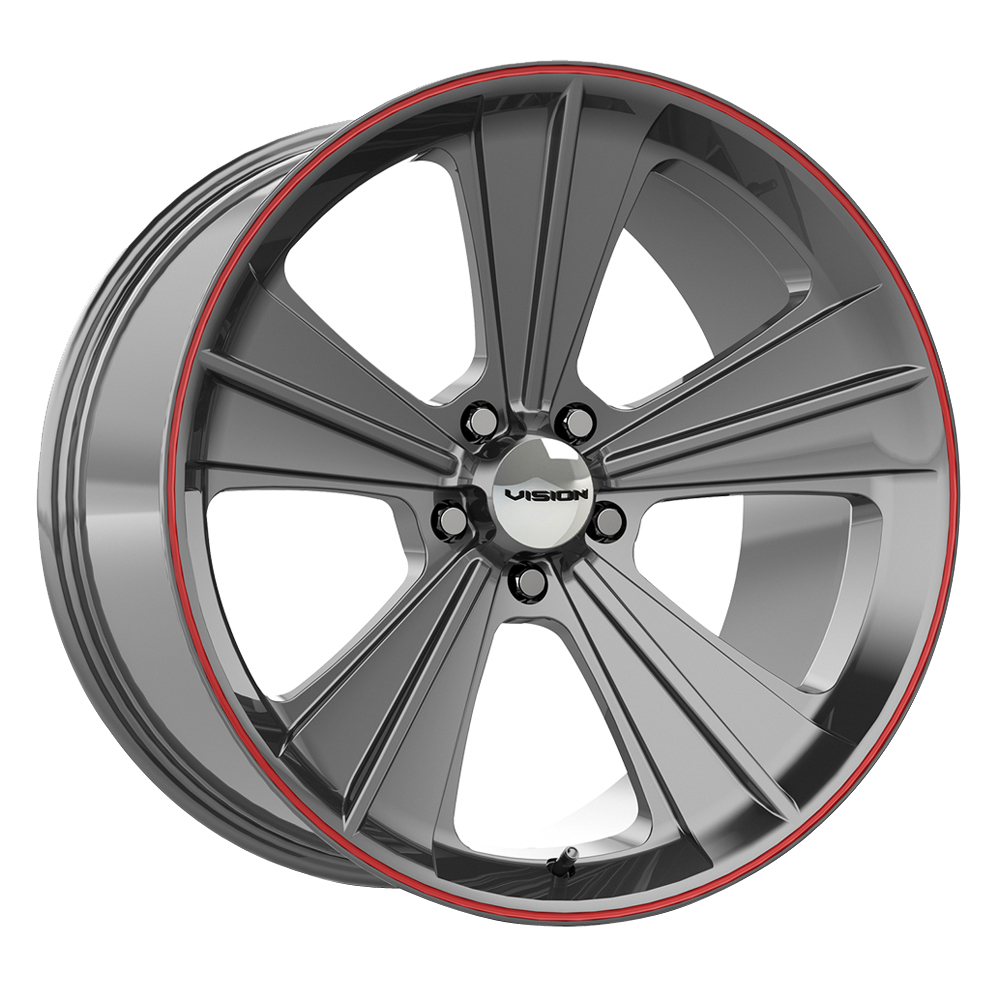 Vision Wheels Missile - Gun Metal w/Red Lip Rim
