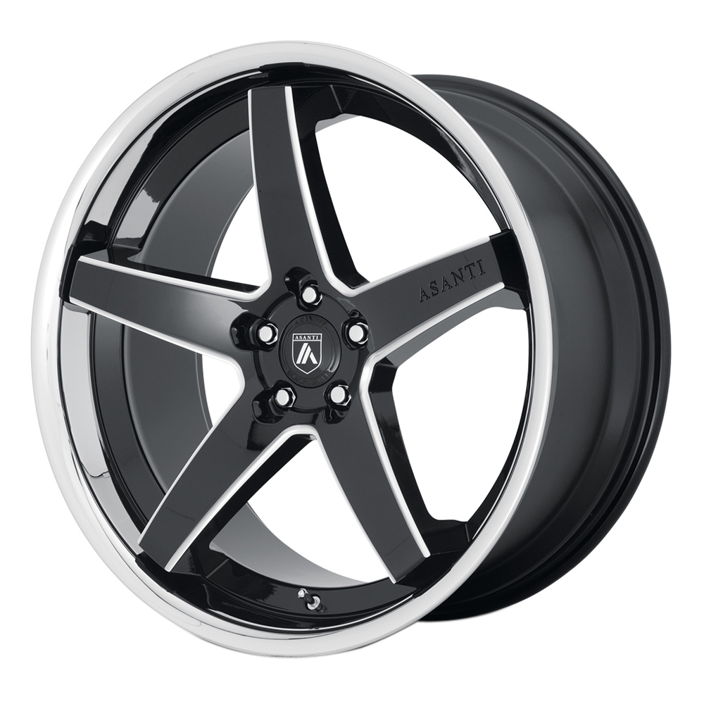 Asanti Wheels ABL-31 Regal - Gloss Black Milled with Chrome Lip Rim