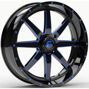 Fuel UTV Wheels D651 Maverick UTV - Gloss Black Milled With Blue Tint Rim