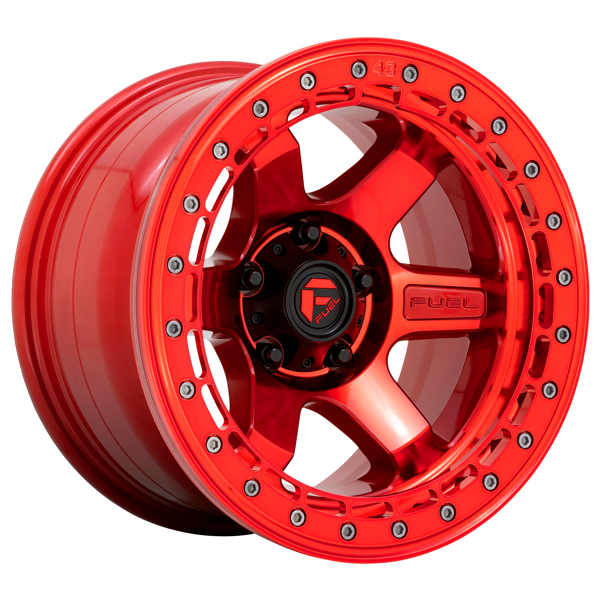 Fuel Wheels Block D123 - Candy Red With Candy Red Ring Rim