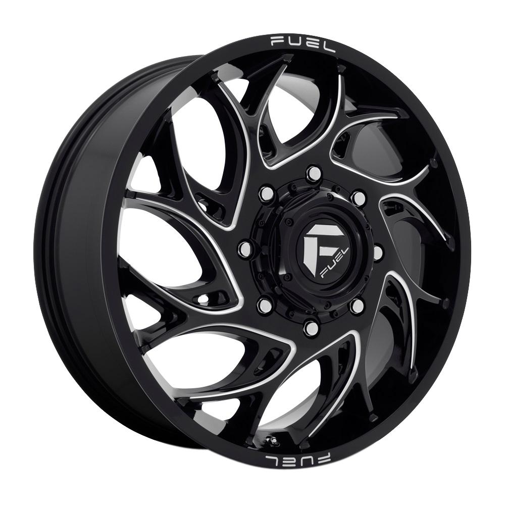 Fuel Wheels D741 Runner Dually Front - Black Milled Rim