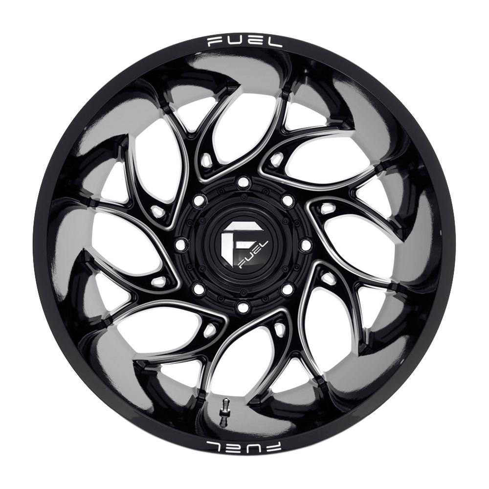 Fuel Wheels D741 Runner Dually Rear - Black Milled Rim