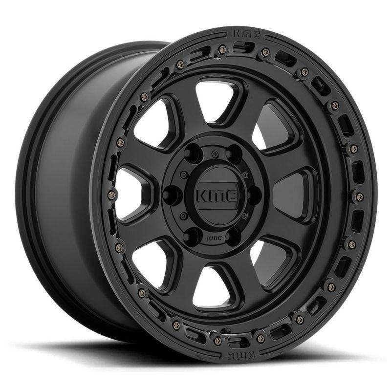 KMC Wheels KM548 Chase - Satin Black w/Gloss Black Lip Rim