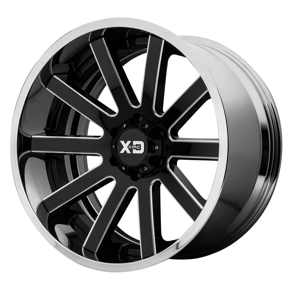 XD Series Wheels XD200 Heist - Gloss Black Milled Center w/Chrome Lip Rim