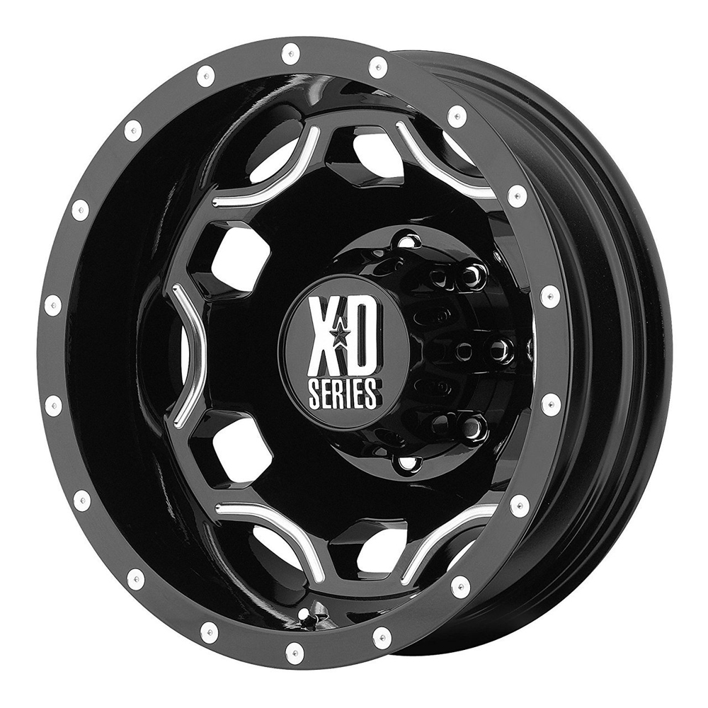 XD Series Wheels XD814 Crux Dually Rear - Gloss Black w/Milled Accents Rim