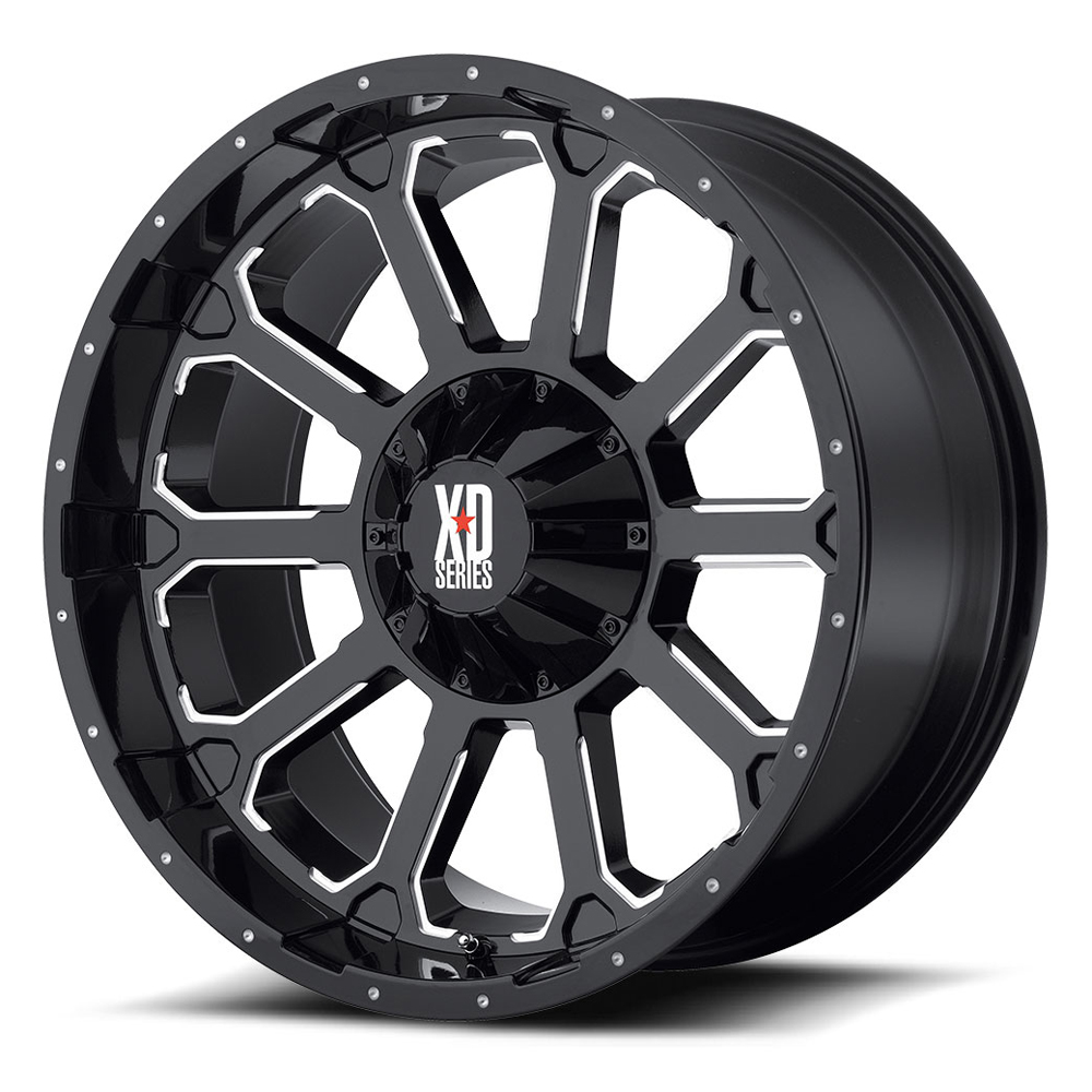 XD Series Wheels XD806 Bomb - Gloss Black w/Milled Accents Rim