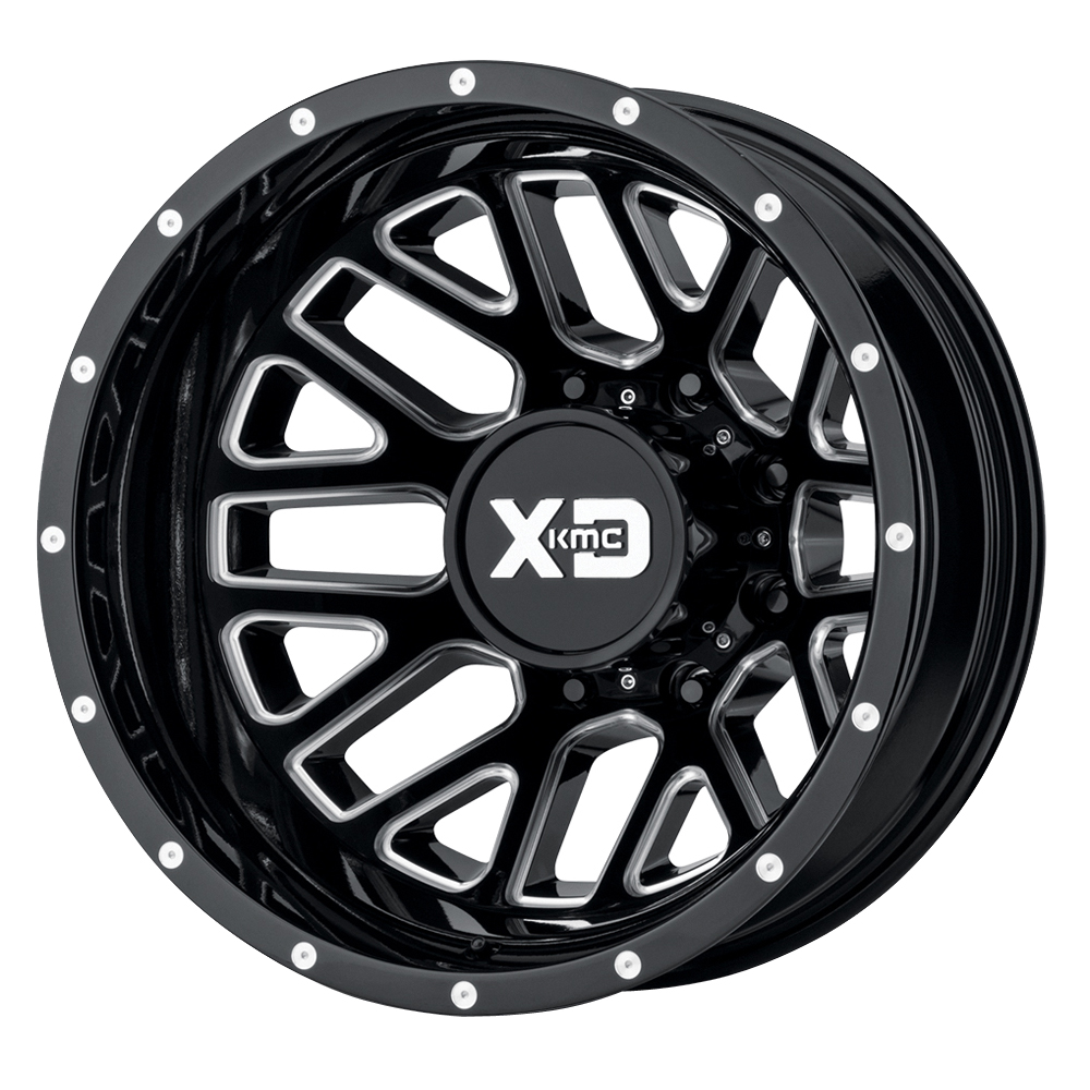 XD Series Wheels XD843 Grenade Dually Rear - Gloss Black Milled Rim