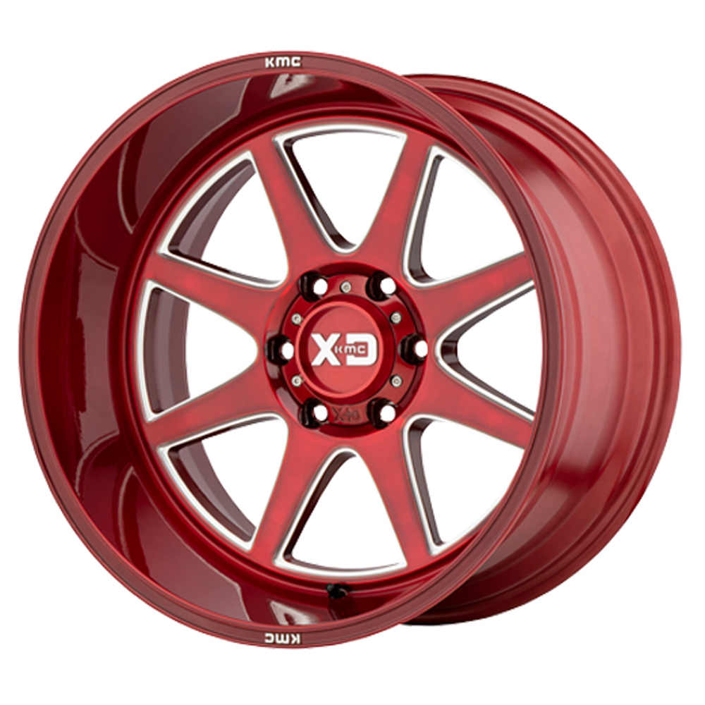 XD Series Wheels XD844 Pike - Brushed Red With Milled Accent Rim