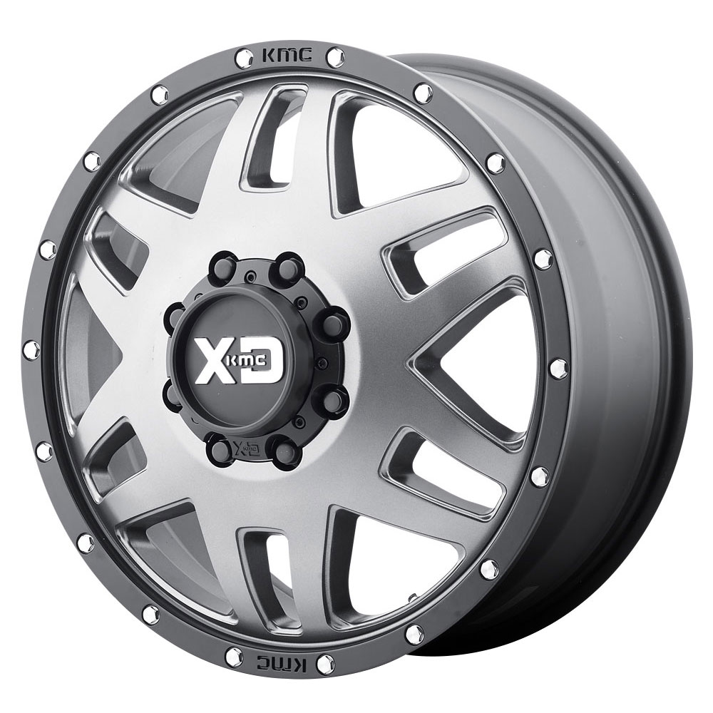 XD Series Wheels XD130 Machete Dually - Matte Gray w/Black Reinforcing Ring Rim