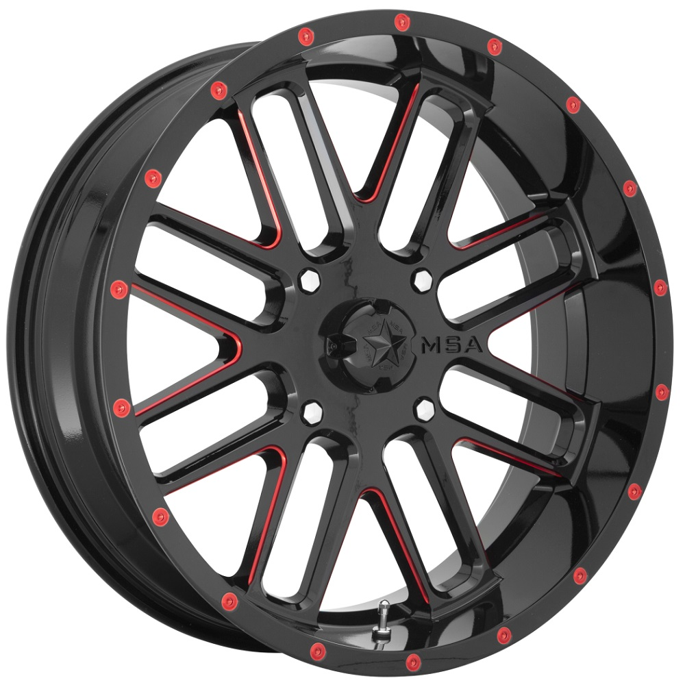 MSA Offroad Wheels M35 Bandit - Gloss Black Milled with Red Tint Rim