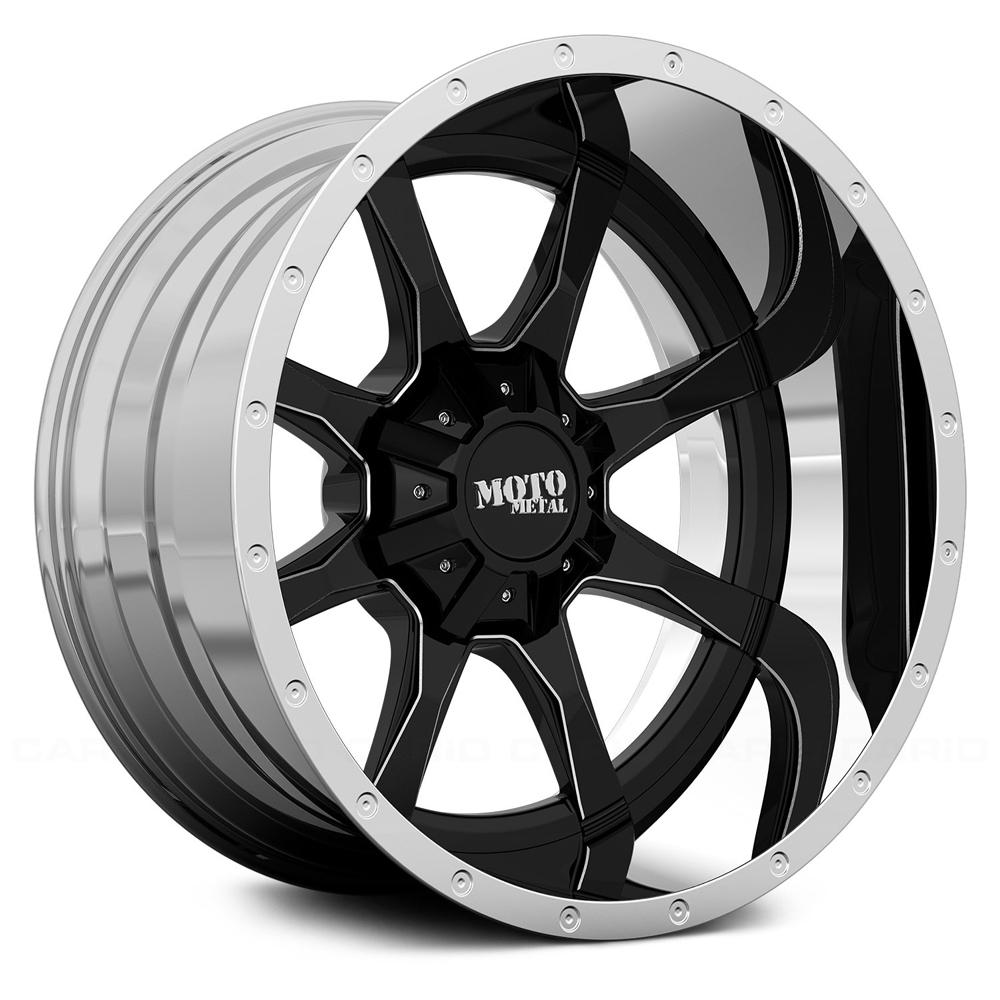 Mo201 Gloss Black Milled Center W Chrome Lip Rim By Moto Metal Wheels Wheel Size 22x12 Performance Plus Tire