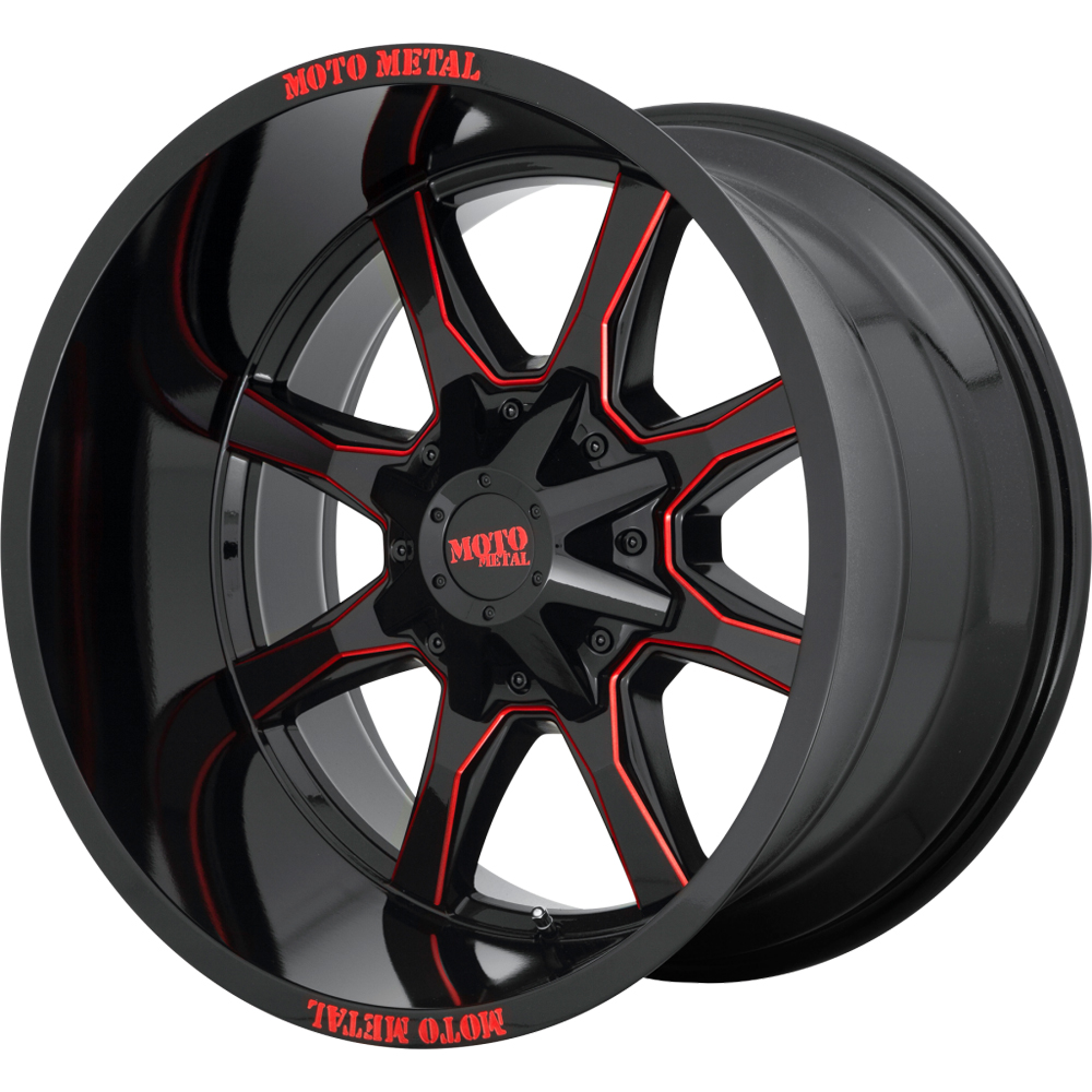 Moto Metal Wheels MO970 - Black Milled / Red Tint Rim