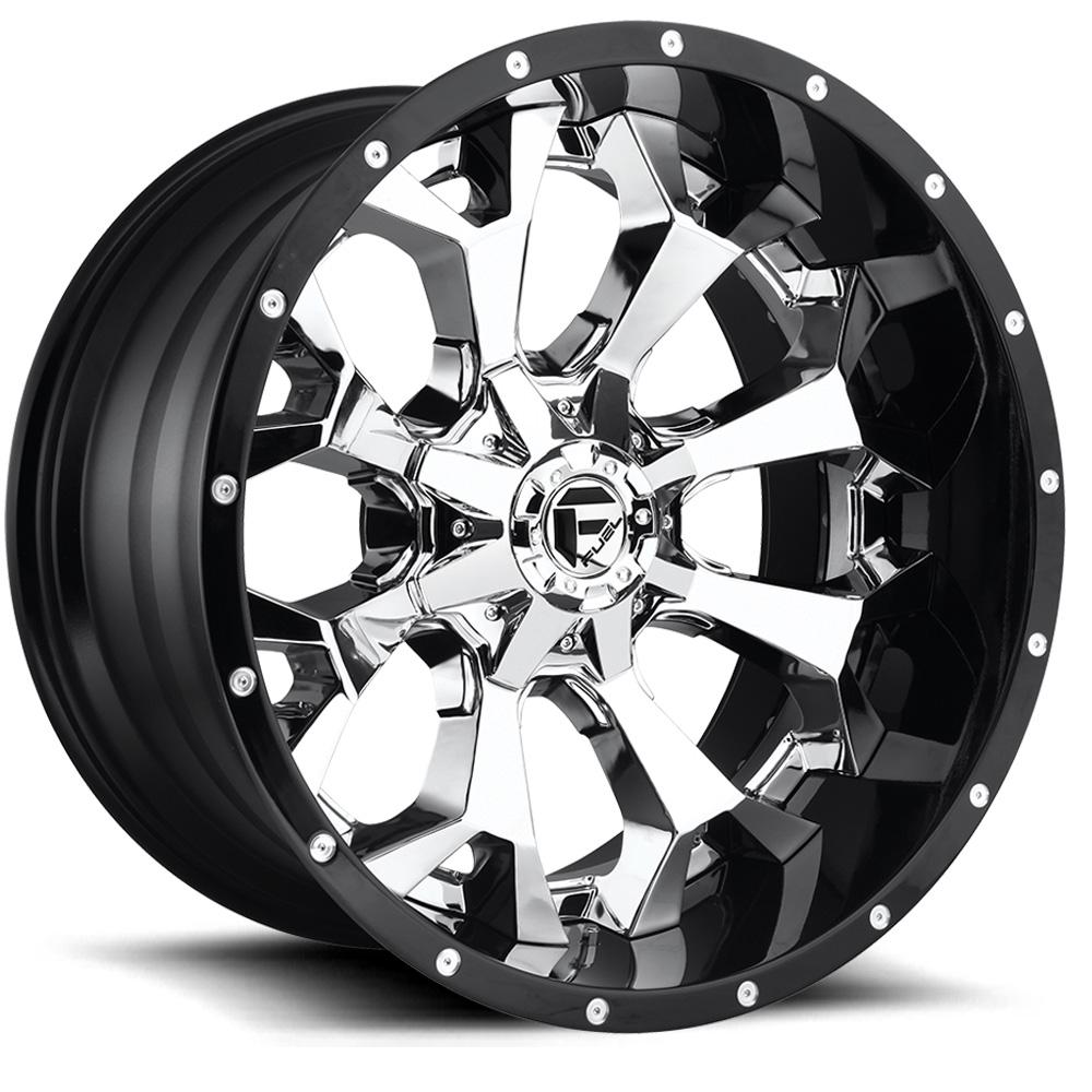 Assault D246 Chrome Face With Gloss Black Lip Rim By Fuel Wheels Wheel Size 22x12 Performance Plus Tire